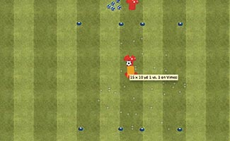 15 x 10 yd 1 vs. 1 - Small Sided Dribbling Game