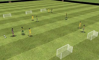Any three goals - small sided soccer game with three nets for each team