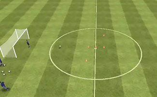 Cut and shoot soccer drill.