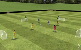 small area soccer game for kids with four goals