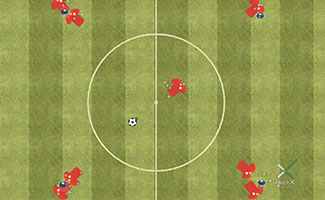 One touch soccer passing drill.