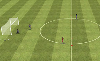Touch to Space soccer shooting drill.