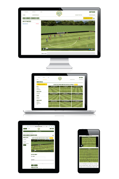 Display soccer drills on many devices