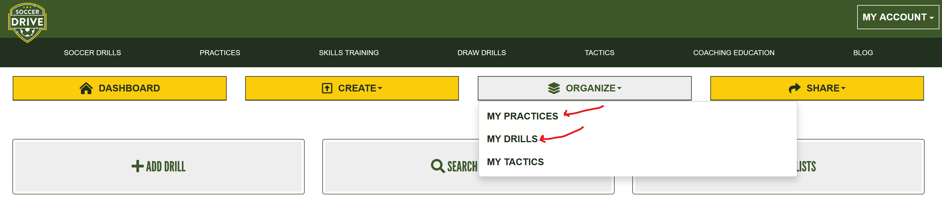 My drills and my practices link from navigation bar