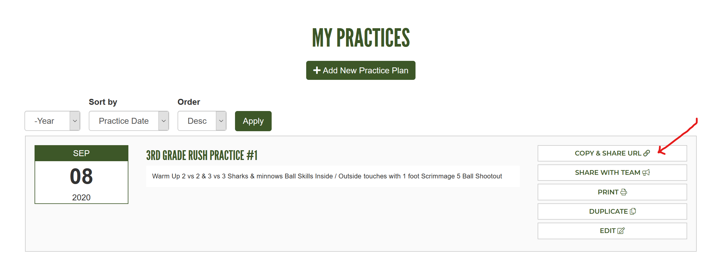 Copy and Share URL Button on my practices page