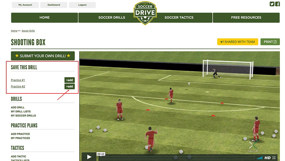 Save soccer drills to your practice using the buttons in the left column