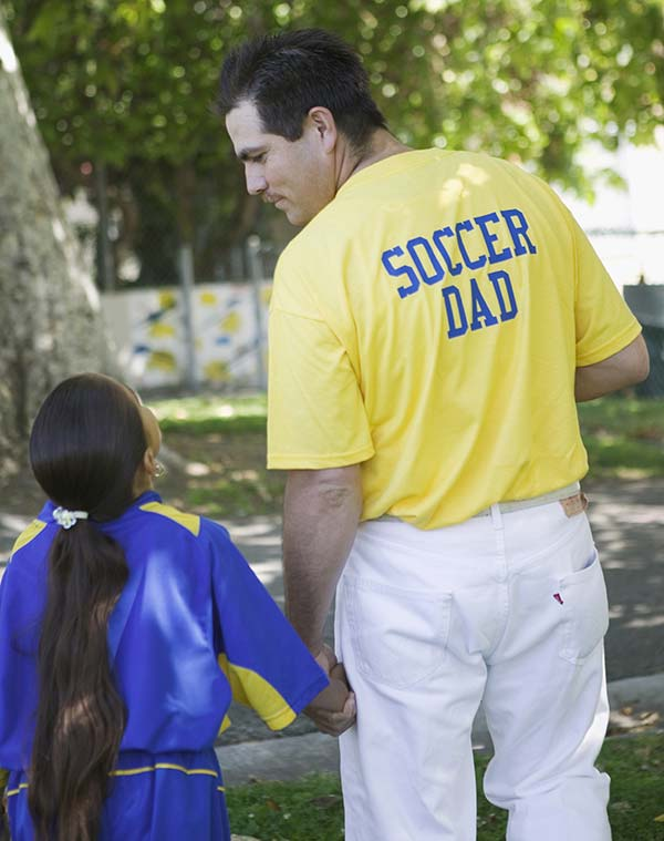 Soccer Dad talking with his daughter