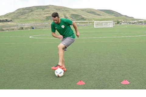 First Touch Soccer Drill - Outside Trap and Play