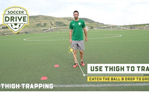 Trap Soccer Ball With Thigh