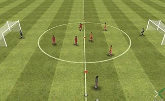 3 vs. 3 own half shooting, a small sided soccer game