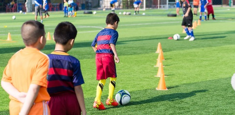 Youth Soccer Players at Tryouts