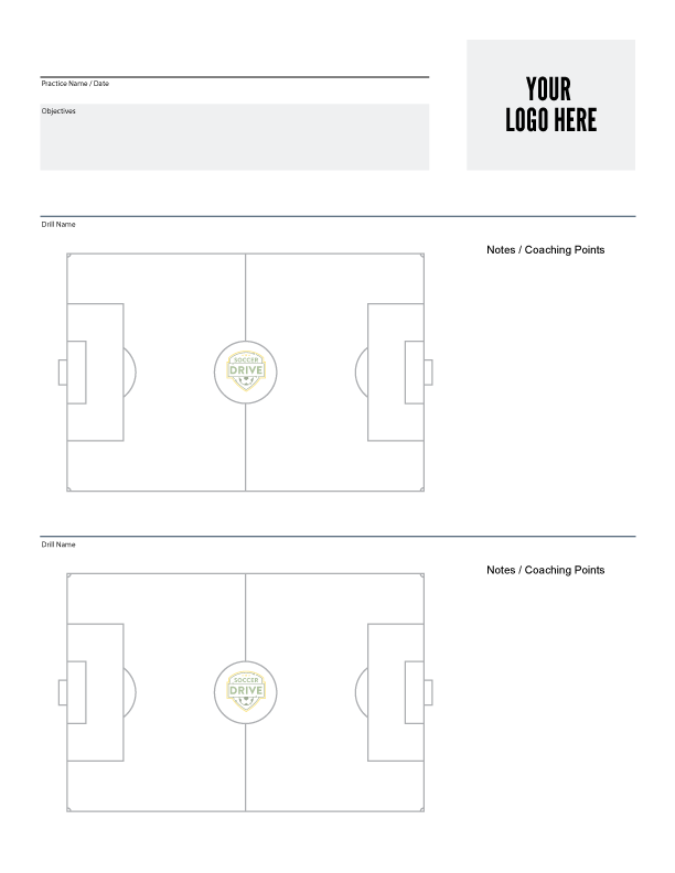 Soccer practice sheet with your team's logo - Download