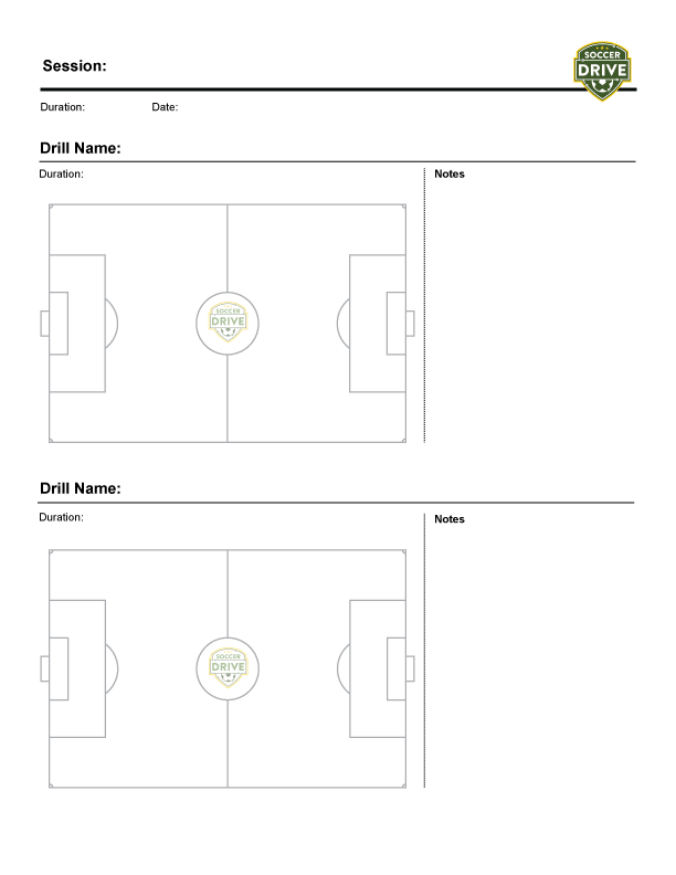 Free downloads for soccer coaches soccerdrive practice sheet two fields style 2 ccuart Image collections