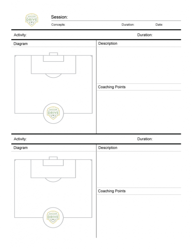 Soccer Practice Sheet - Two Half Fields