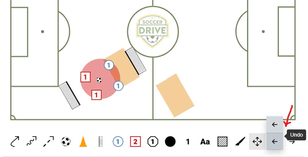 Use the undo and redo buttons to help you use the soccer drill drawing tool.